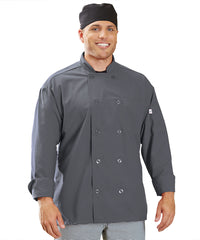 Powerhouse Chef Coat with Mesh Back (Slate) as Shown in the UniFirst Uniform Rental Catalog