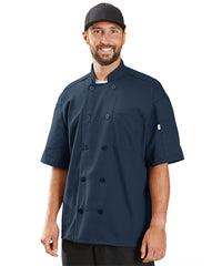 Powerhouse Short Sleeve Chef Coat with Mesh Back (Navy) as Shown in the UniFirst Uniform Rental Catalog