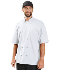 Powerhouse Short Sleeve Chef Coat with Mesh Back (White) as Shown in the UniFirst Uniform Rental Catalog