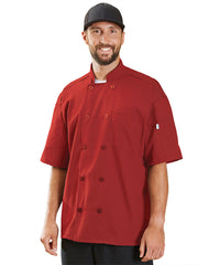 Powerhouse Short Sleeve Chef Coat with Mesh Back (Red) as Shown in the UniFirst Uniform Rental Catalog