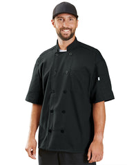 Powerhouse Short Sleeve Chef Coat with Mesh Back (Black) as Shown in the UniFirst Uniform Rental Catalog