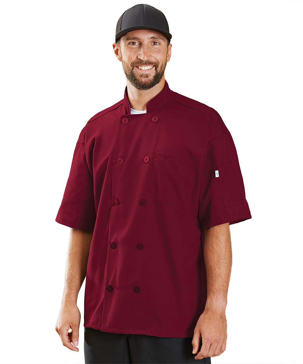 Powerhouse Short Sleeve Chef Coat with Mesh Back (Burgundy) as Shown in the UniFirst Uniform Rental Catalog
