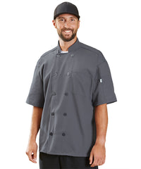 Powerhouse Short Sleeve Chef Coat with Mesh Back (Slate) as Shown in the UniFirst Uniform Rental Catalog