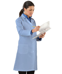 Light Blue Women's Lab Coats Shown in UniFirst Uniform Rental Service Catalog
