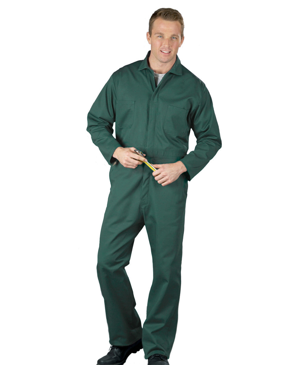 Spruce Green UniWear® Snap-Front Coveralls Shown in UniFirst Uniform Rental Service Catalog