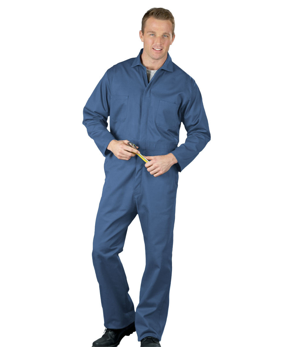 Postman Blue UniWear® Snap-Front Coveralls Shown in UniFirst Uniform Rental Service Catalog