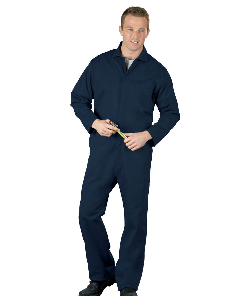 Navy Blue UniWear® Snap-Front Coveralls Shown in UniFirst Uniform Rental Service Catalog