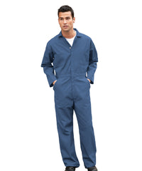 Postman Blue UniWear® Cotton Blend Zip Front Coveralls Shown in UniFirst Uniform Rental Service Catalog