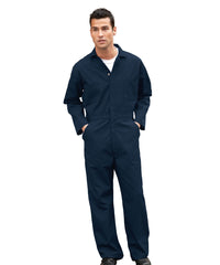 Navy Blue UniWear® Cotton Blend Zip Front Coveralls Shown in UniFirst Uniform Rental Service Catalog