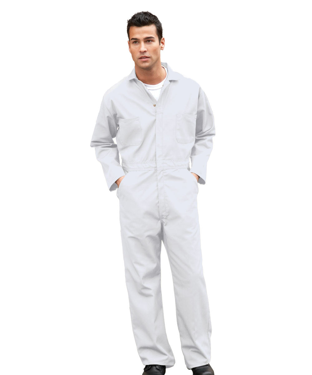 White UniWear® Cotton Blend Zip Front Coveralls Shown in UniFirst Uniform Rental Service Catalog