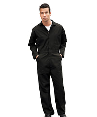 Black UniWear® Cotton Blend Zip Front Coveralls Shown in UniFirst Uniform Rental Service Catalog