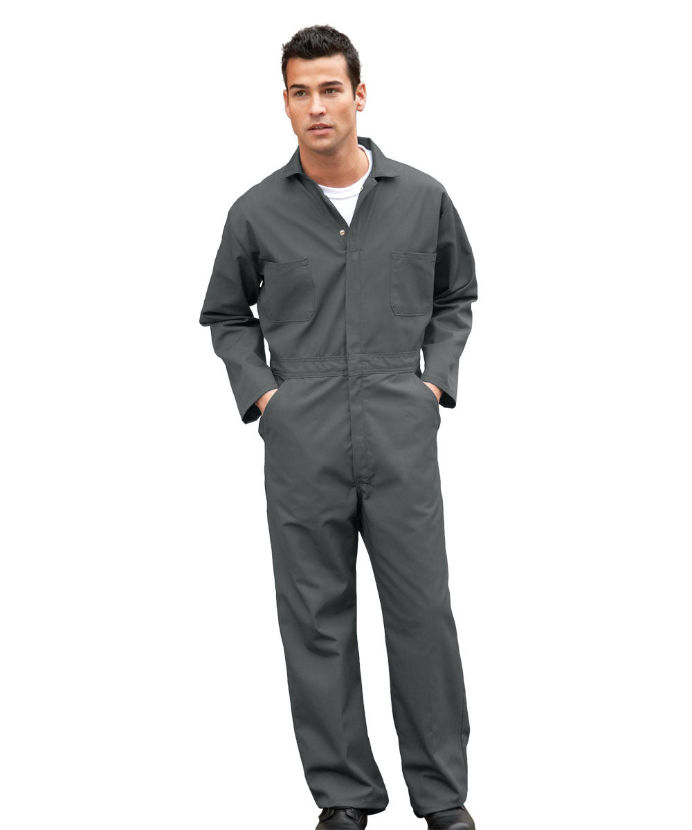 Charcoal UniWear® Cotton Blend Zip Front Coveralls Shown in UniFirst Uniform Rental Service Catalog