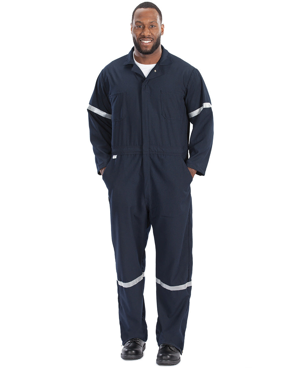 Navy Blue Armorex FR® Arc Rated Flame Resistant Coveralls With Reflective Striping  Shown in UniFirst Uniform Rental Service Catalog