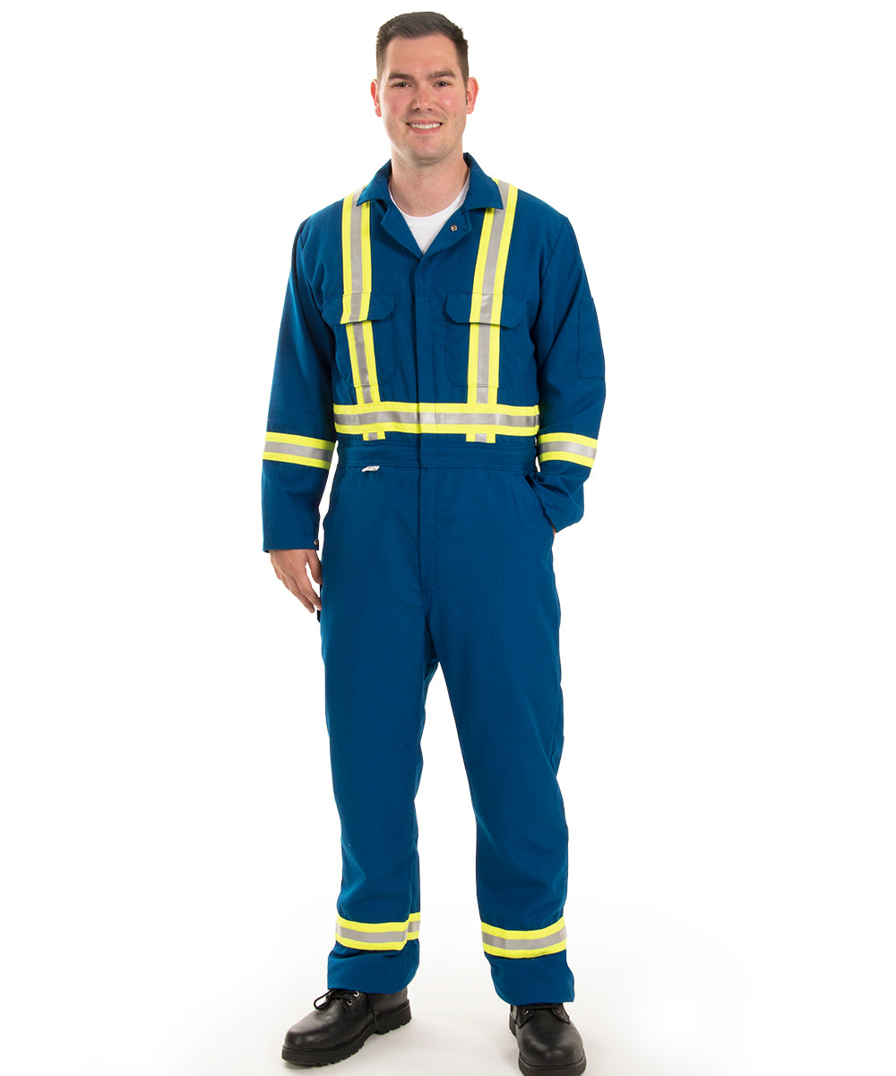 Armorex FR® Flame Resistant Enhanced Visibility Coveralls with Nomex CXP® (Navy) as shown in the UniFirst Uniform Rental Catalog.