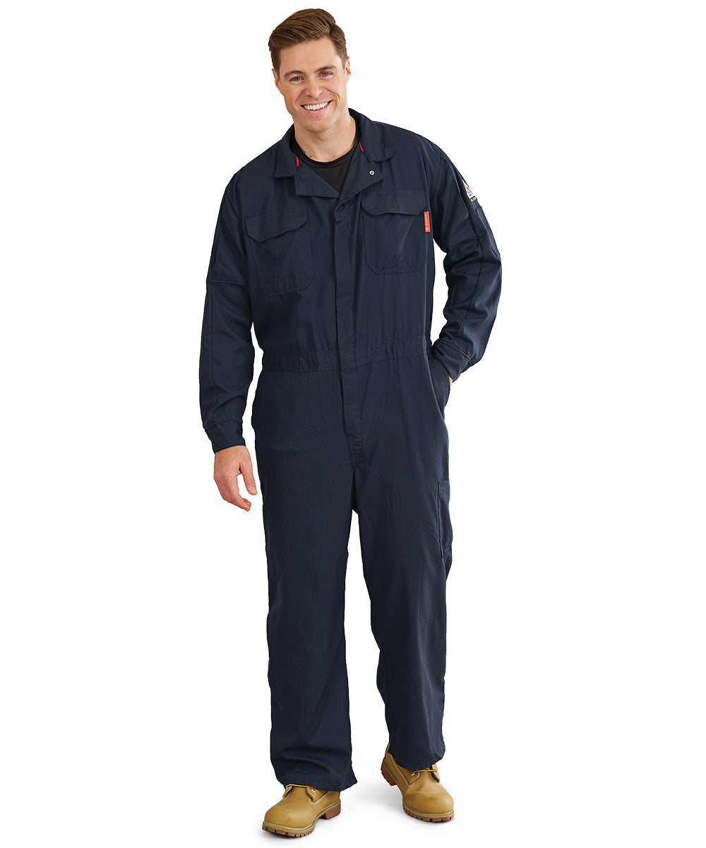 Bulwark® FR iQ Series® Mobility Coveralls (Navy) as shown in the UniFirst Uniform Rental Catalog.