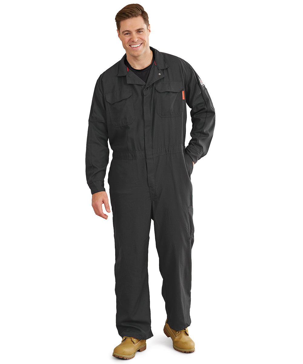 Bulwark® FR iQ Series® Mobility Coveralls (Dark Grey) as shown in the UniFirst Uniform Rental Catalog.
