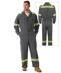 Bulwark® iQ Series® Flame Resistant Mobility Coveralls with Engancd Visibility Reflective Trim in Dark Gray as shown in the UniFirst Uniform Rental Catalog