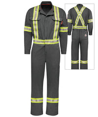 Bulwark® iQ Series® Flame Resistant Mobility Coveralls with High Visibility Reflective Trim (Canada) in Dark Gray as shown in the UniFirst Uniform Rental Catalog