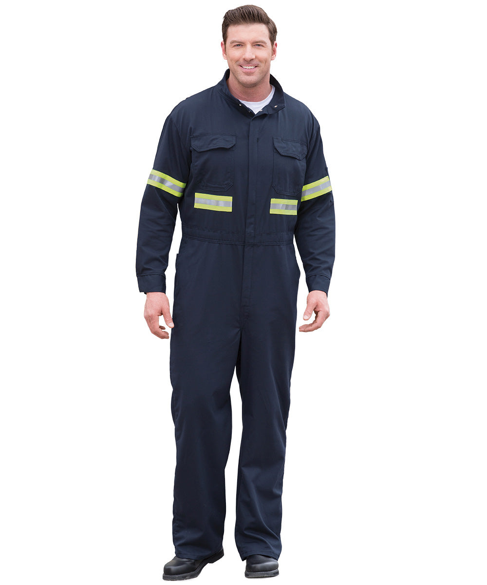 0fdbbd23411e Navy Blue UltraSoft® Arc Rated Flame Resistant Coveralls with3M Reflective  Striping Shown in UniFirst Uniform