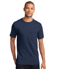 Men's 100% Cotton Short Sleeve Pocket T-Shirts (Navy) as shown in the UniFirst Uniform Rental Catalog.