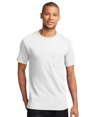 Men's 100% Cotton Short Sleeve Pocket T-Shirts (White) as shown in the UniFirst Uniform Rental Catalog.