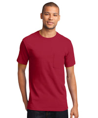 Men's 100% Cotton Short Sleeve Pocket T-Shirts (Red) as shown in the UniFirst Uniform Rental Catalog.