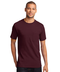 Men's 100% Cotton Short Sleeve Pocket T-Shirts (Maroon) as shown in the UniFirst Uniform Rental Catalog.