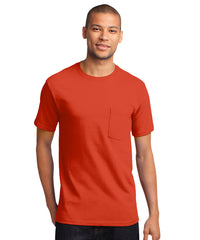 Men's 100% Cotton Short Sleeve Pocket T-Shirts (Orange) as shown in the UniFirst Uniform Rental Catalog.