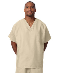 Tan Unisex Solid Scrub Tops Shown in UniFirst Uniform Rental Service Catalog