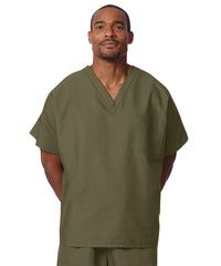 Olive Unisex Solid Scrub Tops Shown in UniFirst Uniform Rental Service Catalog