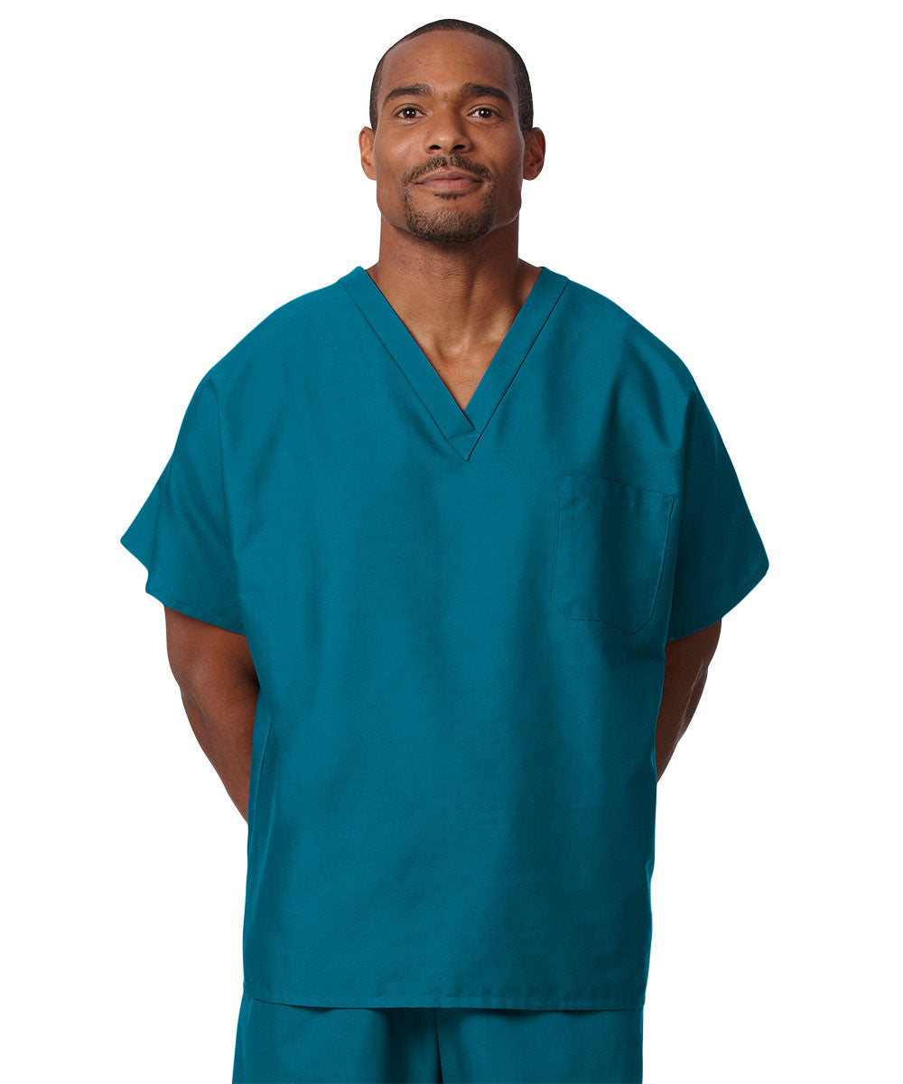Pacific Blue Unisex Solid Scrub Tops Shown in UniFirst Uniform Rental Service Catalog