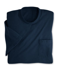 Navy Blue Moisture Management Pocket T-Shirts Shown in UniFirst Uniform Rental Service Catalog