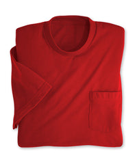 Red Moisture Management Pocket T-Shirts Shown in UniFirst Uniform Rental Service Catalog