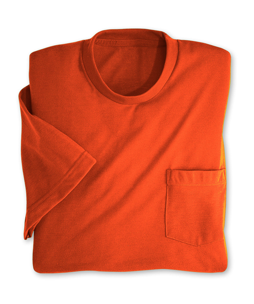 Orange Moisture Management Pocket T-Shirts Shown in UniFirst Uniform Rental Service Catalog