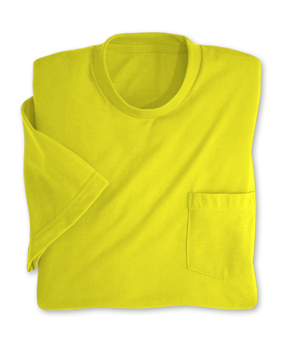 Fluorescent Yellow Moisture Management Pocket T-Shirts Shown in UniFirst Uniform Rental Service Catalog