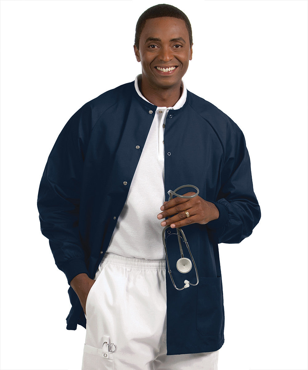 Navy Blue Solid Color Unisex Warm-Up Scrubs Jackets Shown in UniFirst Uniform Rental Service Catalog