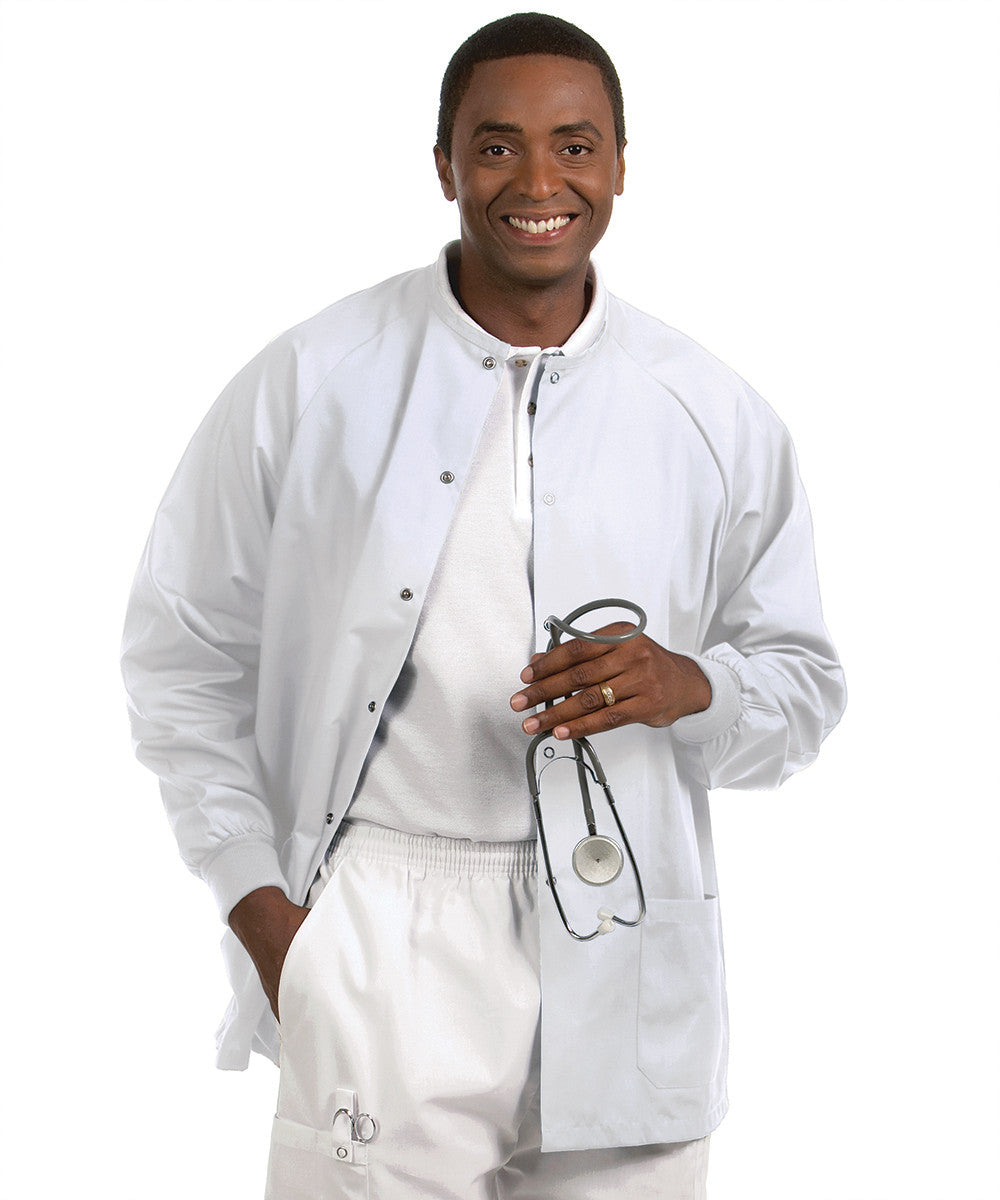 White Solid Color Unisex Warm-Up Scrubs Jackets Shown in UniFirst Uniform Rental Service Catalog