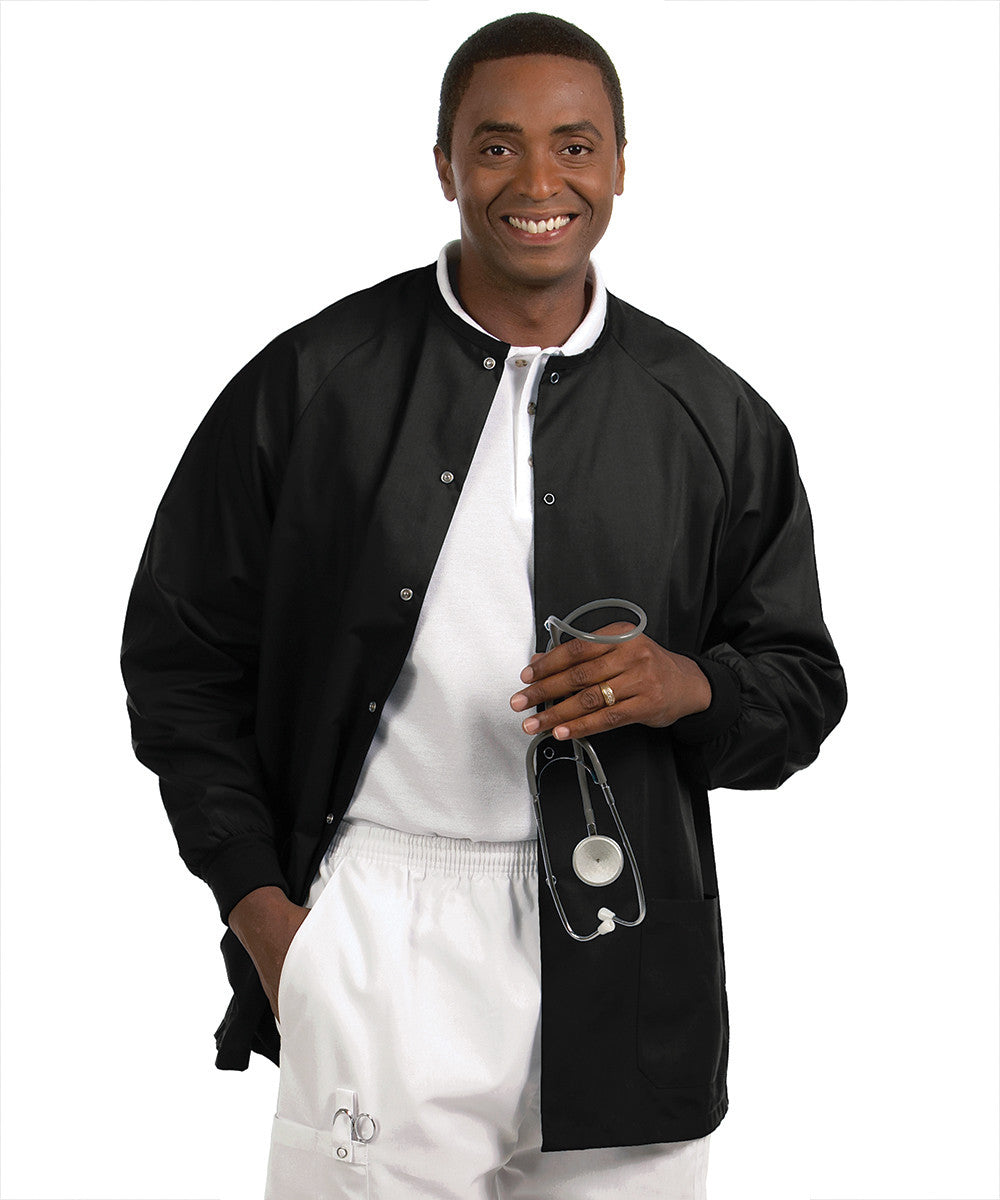 Black Solid Color Unisex Warm-Up Scrubs Jackets Shown in UniFirst Uniform Rental Service Catalog