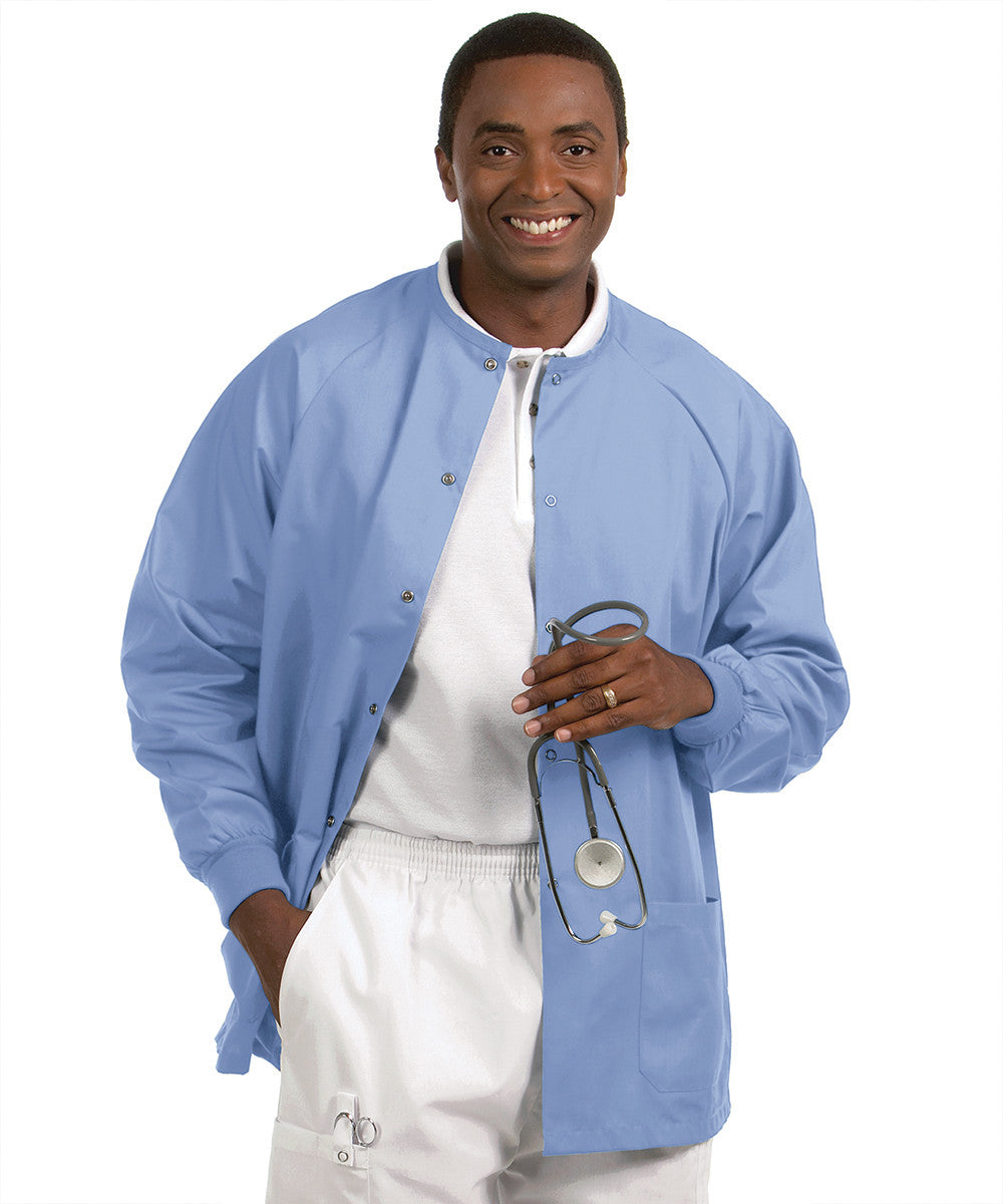 Ciel Blue Solid Color Unisex Warm-Up Scrubs Jackets Shown in UniFirst Uniform Rental Service Catalog