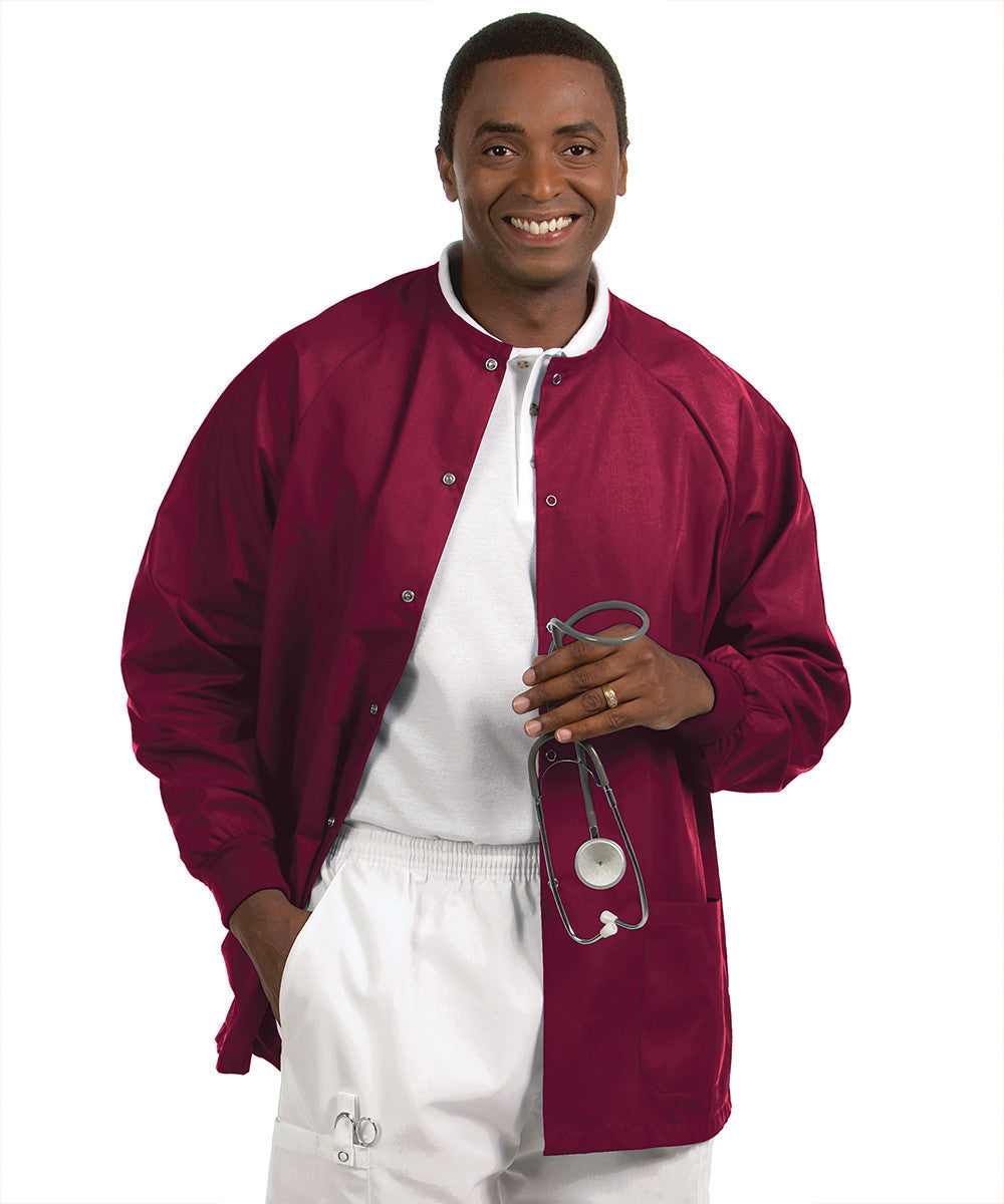 Burgundy Solid Color Unisex Warm-Up Scrubs Jackets Shown in UniFirst Uniform Rental Service Catalog