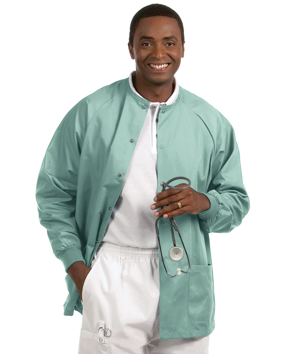 Sage  Solid Color Unisex Warm-Up Scrubs Jackets Shown in UniFirst Uniform Rental Service Catalog