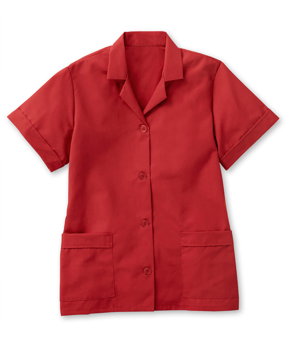 Red UniFirst® Women's Smocks Shown in UniFirst Uniform Rental Service Catalog