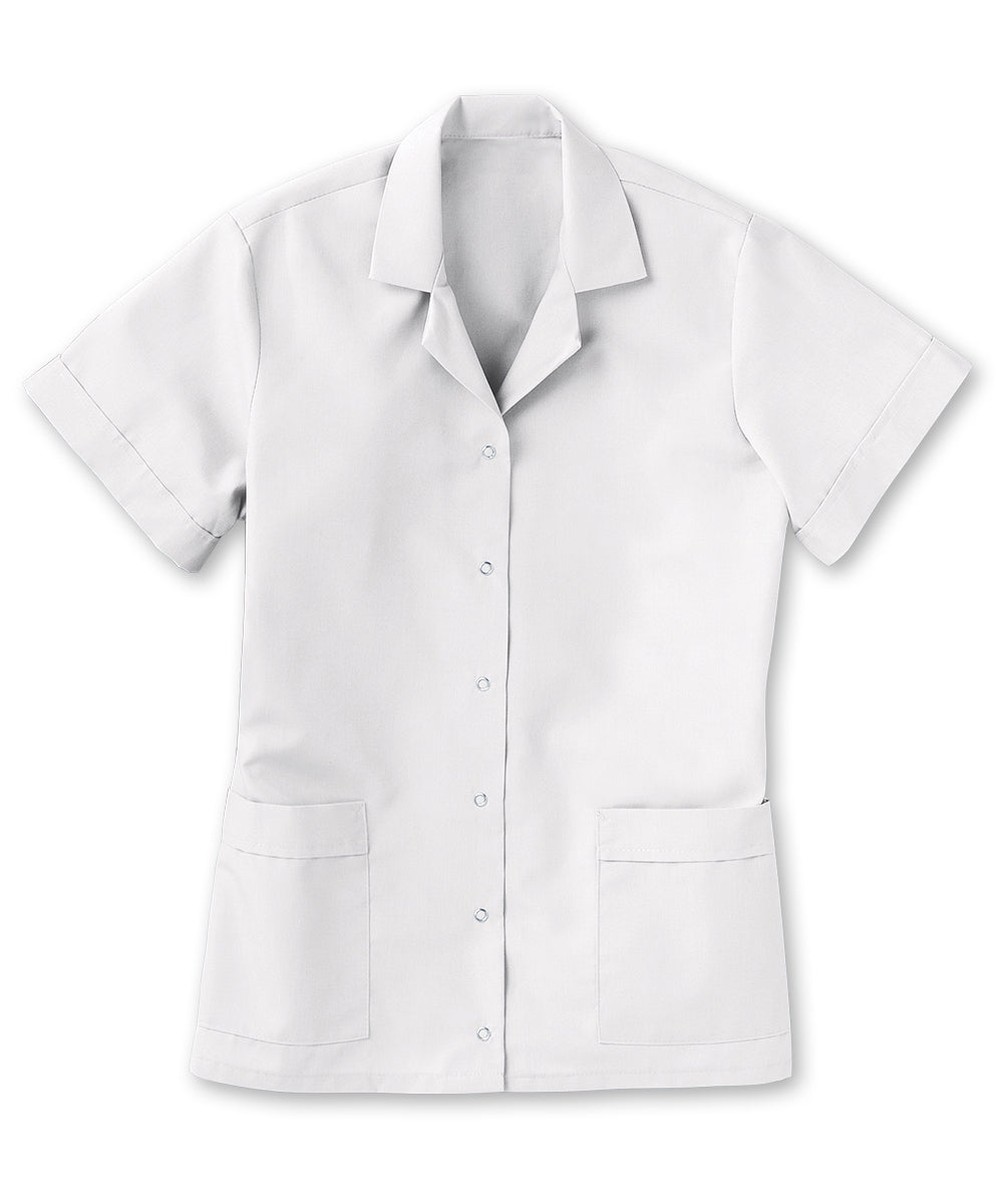 Women's Gripper Smocks (White) as shown in the UniFirst Uniform Rental Catalog.