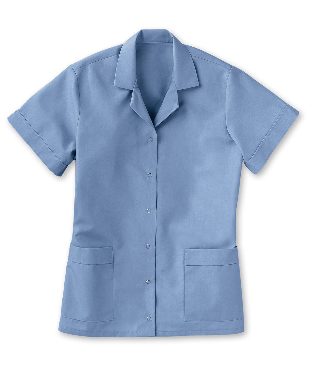Women's Gripper Smocks (Light Blue) as shown in the UniFirst Uniform Rental Catalog.