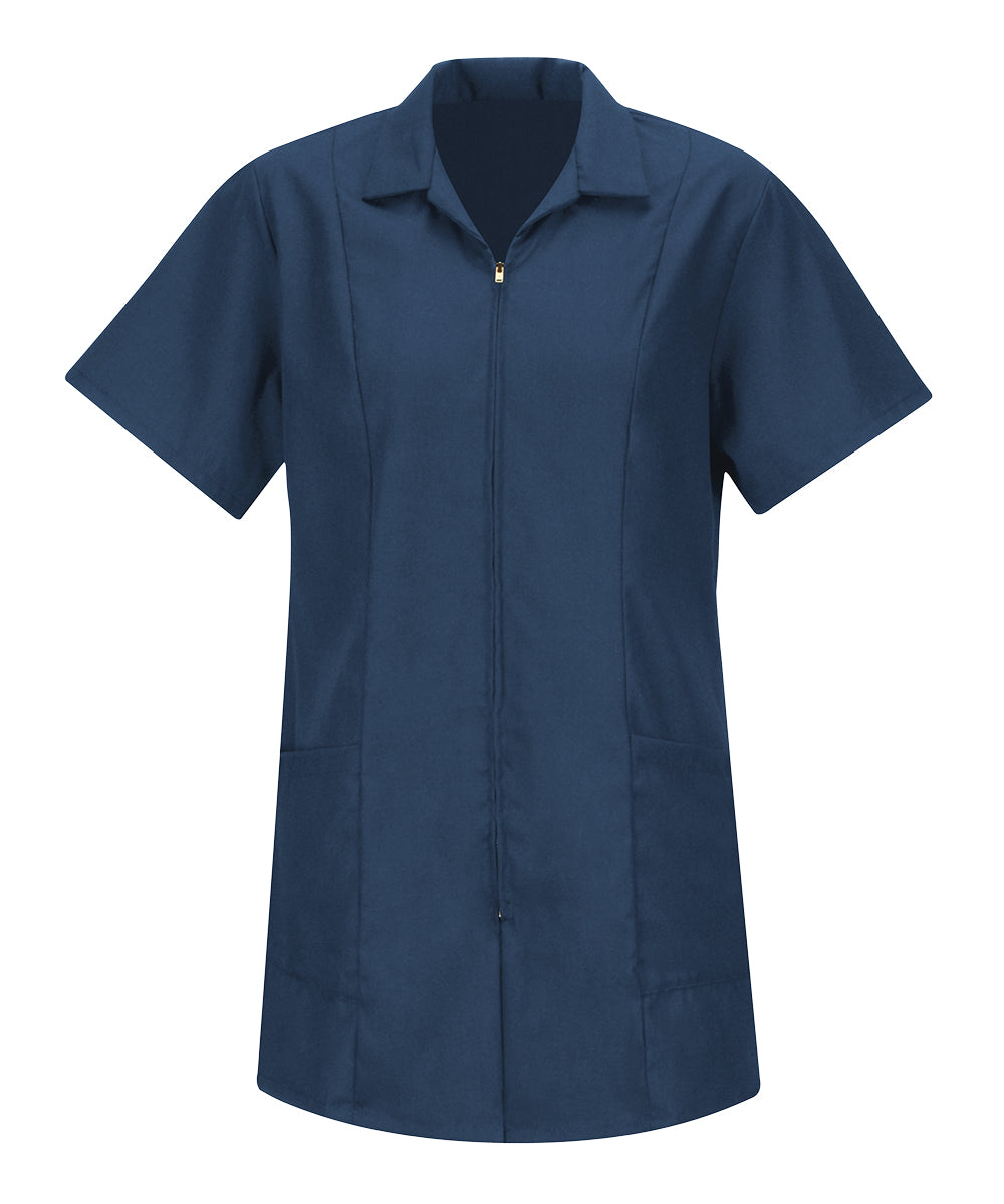 Women's Zip-Front Smocks (Navy Blue) as shown in the Hospitality Collection in the UniFirst Uniforms Rental Catalog.