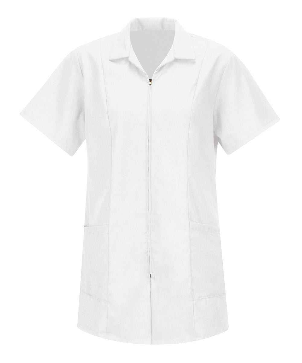 Women's Zip-Front Smocks (White) as shown in the Hospitality Collection in the UniFirst Uniforms Rental Catalog.