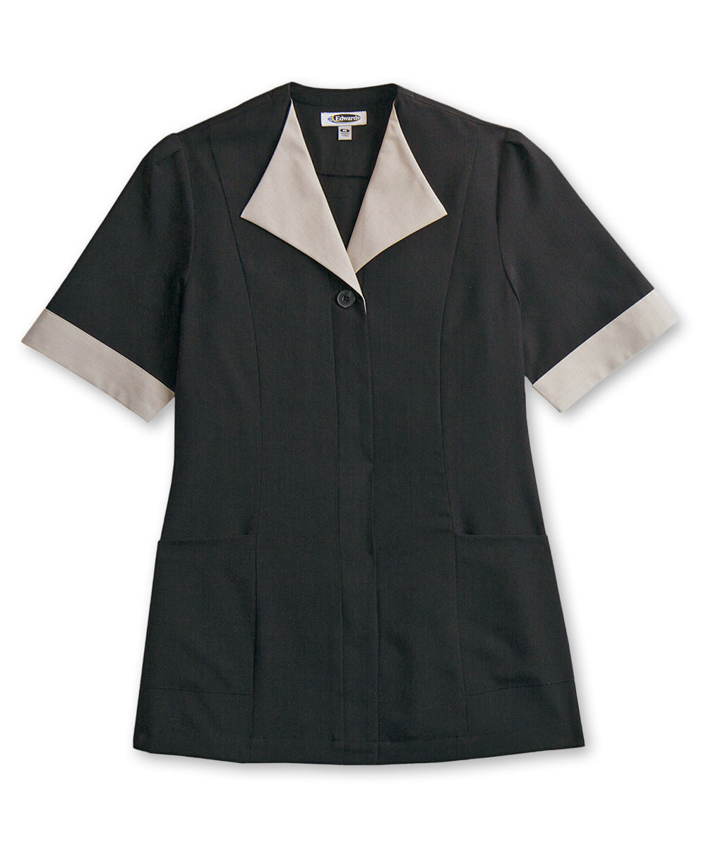 Women's Housekeeping Tunics (Black) as shown in the Hospitality Collection in the UniFirst Uniforms Rental Catalog.