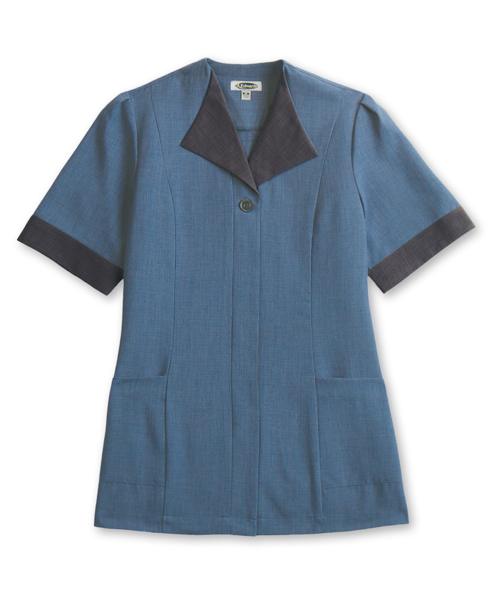Women's Housekeeping Tunics (Medium Blue) as shown in the Hospitality Collection in the UniFirst Uniforms Rental Catalog.