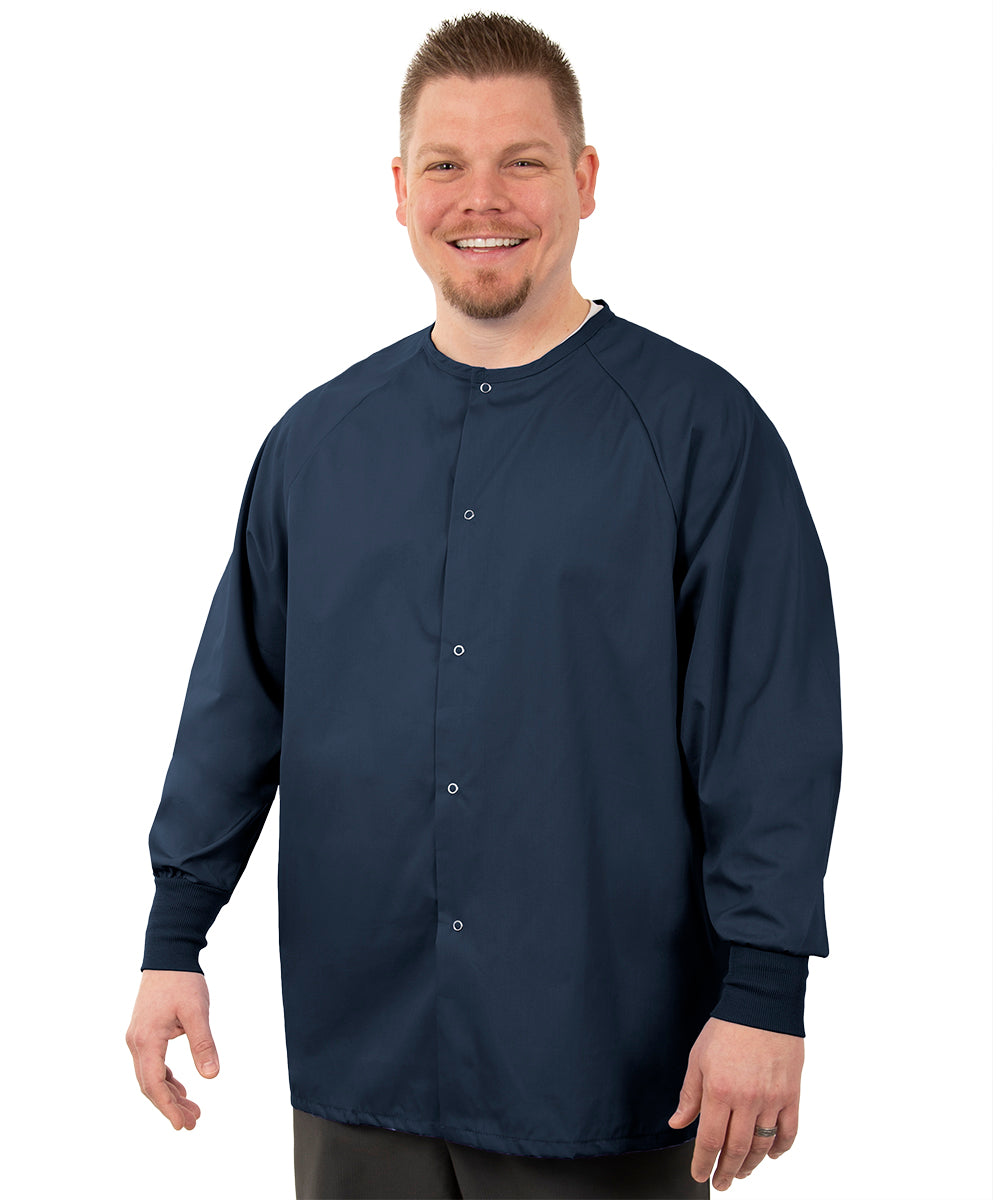 Unisex Pocketless Warm-Up Jackets (Navy Blue) as shown in the UniFirst Uniform Rental Catalog