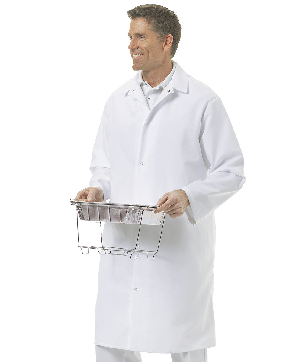 White UniWear® No Pocket Butcher Coats Shown in UniFirst Uniform Rental Service Catalog
